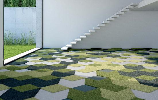 Mocheta Vorwerk 3D multicolora: nuante de verde, alb si negru