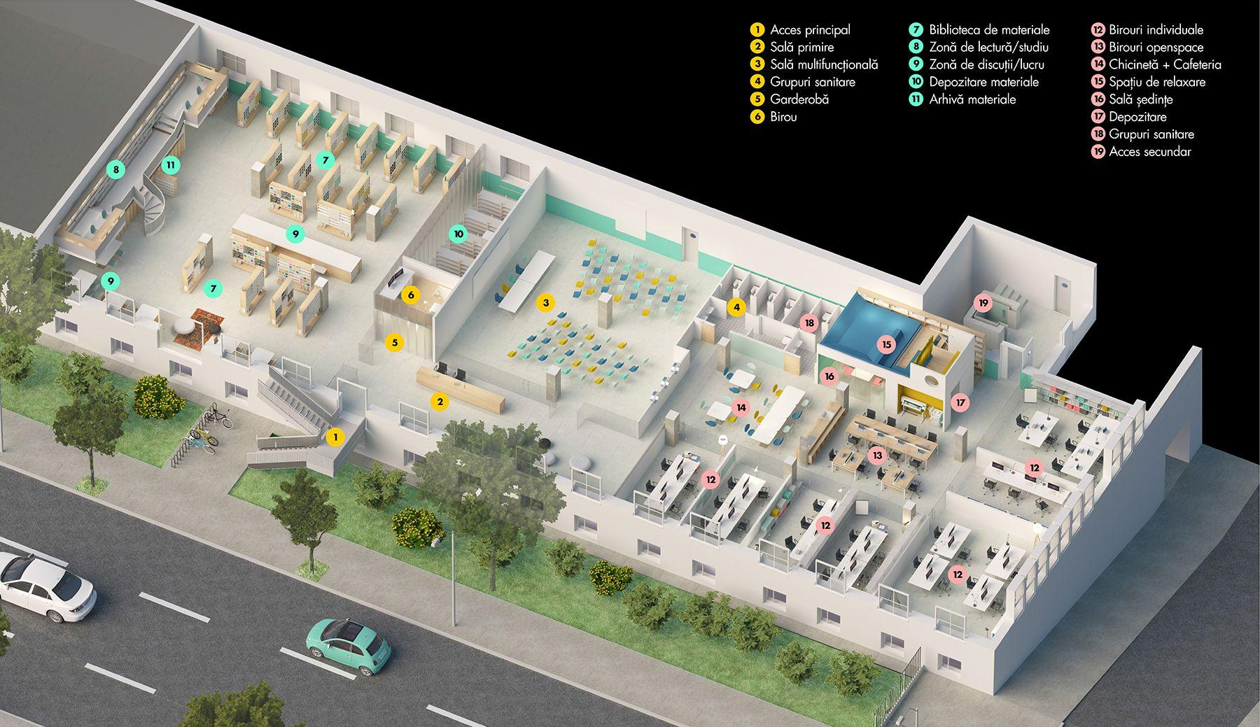 Planul partererului pentru sediul MATER - NOD Markerspace